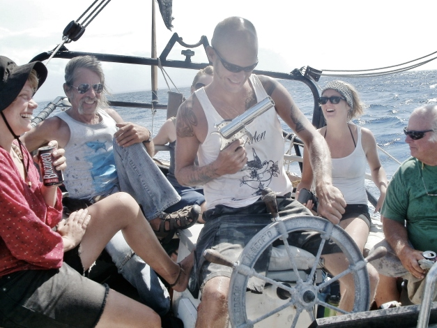 "Sailing with new friends, the crew of S.V. ""Scamlos"" from Norway, Steve from Swiss and the flare gun from texas"