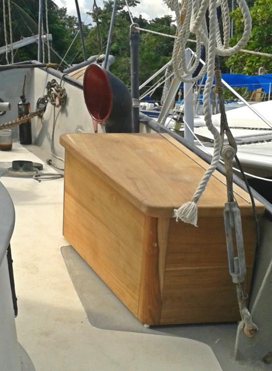 New teak deck box built by Miguel